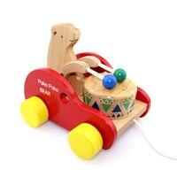 Bear-drums holz pädagogisches spielzeug drag der spielzeugauto kinder kinder geburtstag Weihnachten geschenk hohe qualität