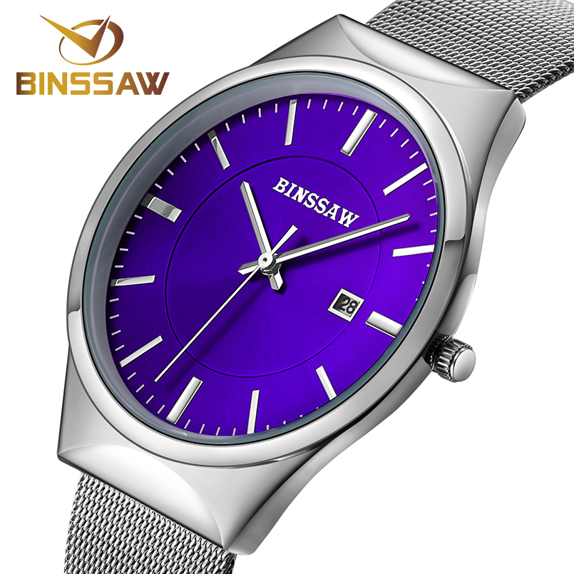 BINSSAW Man Luxury Brand Quartz Watch Ultra-thin Mesh Business Watch Stainless Steel Clock Men Fashion Watches relogio masculino цена 2017