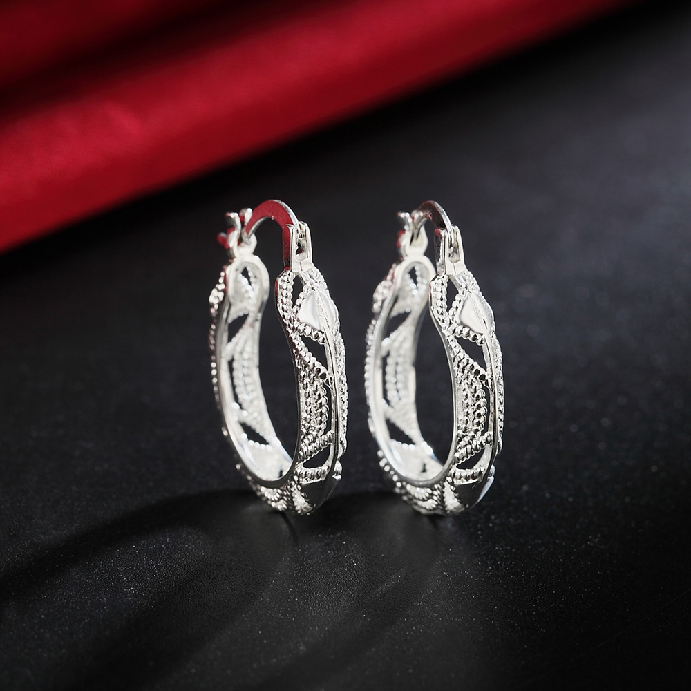 Wholesale Lady Silver Hoop Women Wedding Earring Jewelry Wedding Party Charms Retro Cute Fashion Christmas Gift Nice JSHLE039