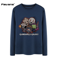 Flevans 2017 New Long Sleeve T Shirt Men Guardians Of The Galaxy Funny Print T Shirt