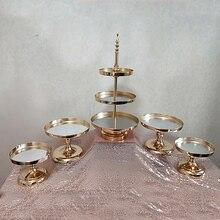 1 Pcs 5 Pcs Spiegel Bruiloft Decoratie 2 Of 3 Tier Cupcake Display Gold Metal Cake Stand