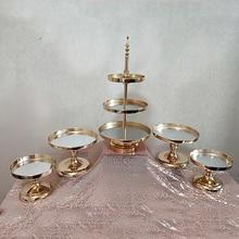 1 uds. 5 uds. De espejo para decoración de boda, 2 o 3 niveles, expositor de cupcakes, soporte de Metal dorado para pastel