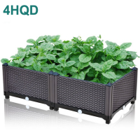 Brown planting box European family balcony vegetable pot large plastic flower pot one meter vegetable garden
