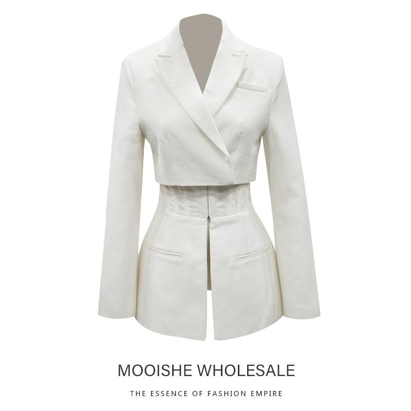 Ceinture-style Faux Deux pièces Couture Blanc Blazer Femmes Printemps manteau bureau