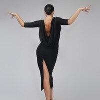 Black Backless Sexy Latin Dance Dress Woman Rumba Samba Costume Sexy Perspective Stitching Salsa Dress Competition