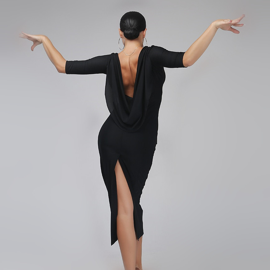 Show details for Black Backless Sexy Latin Dance Dress Woman Rumba Samba Costume Sexy Perspective Stitching Salsa Dress Competition Costume