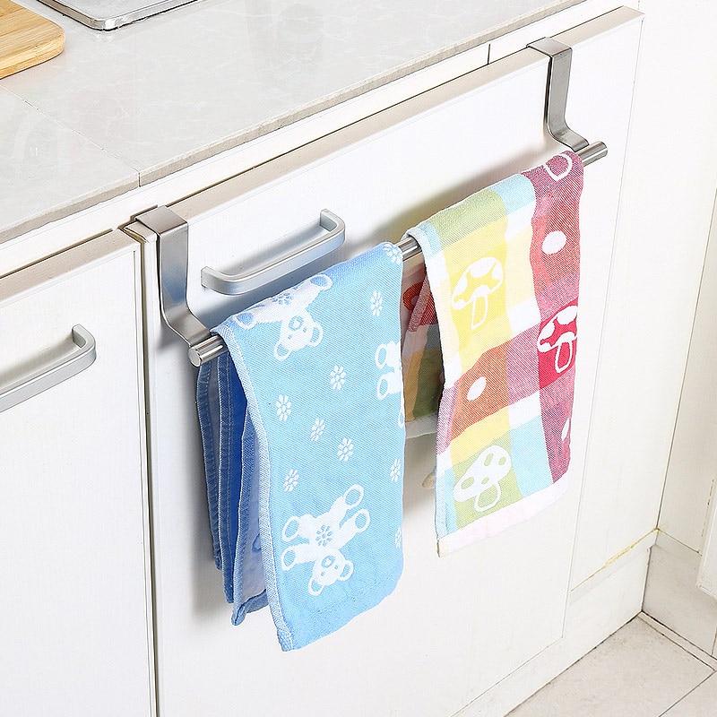 stainless steel towel bar holder kitchen cabinet cupboard door hanging rack storage hook accessories fp8
