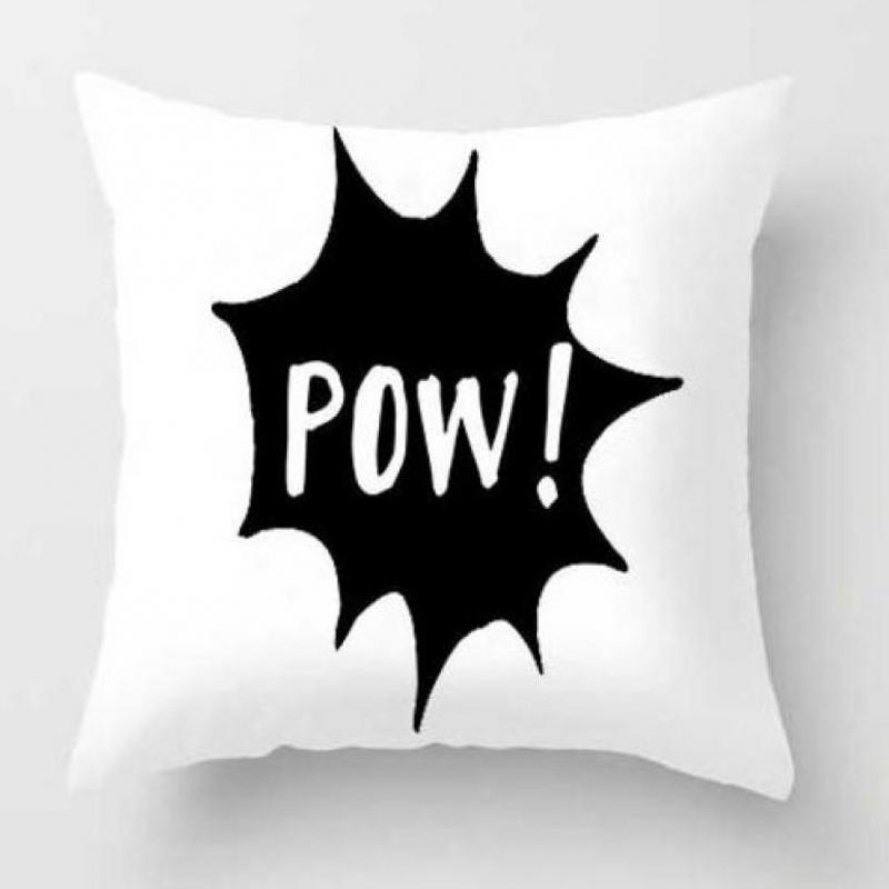 Black And White Cartoon Cushion Cover Mask Animated Action Figure Anime Plush Pillow Case Kids Party Decor Supplies For Boy Gift