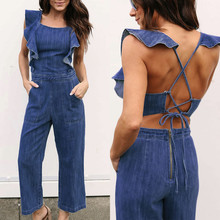 1798346d5568 2018 New Arrival Fashion Womens Denim Bandage Ruffles Sleeveless Jumpsuits  Rompers Long Pants With High Quality