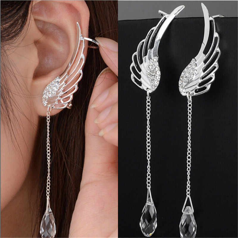 Fashion Womens Silver Plated Jewelry Angel Wings Tassels Crystal Ear Stud Earrings SWXFR151