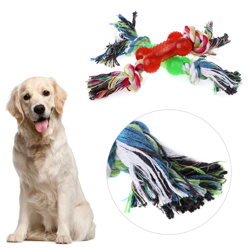 Pet Chew Toy Dog Cotton Rope Bone Puppy Teeth Cleaning Bite Toys Training Game