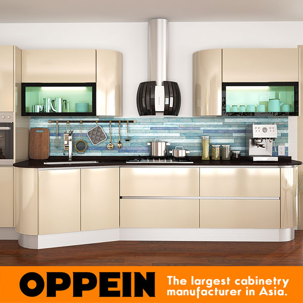 Oppein Italy Design Light Golden Acrylic Wooden Kitchen Cabinets Op14 057