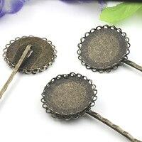 Cabochon Antike Bronze 25mm Spitze pad Fach Haarspangen Haarklammer clip, DIY Schmucksachen Zubehör 100 stücke