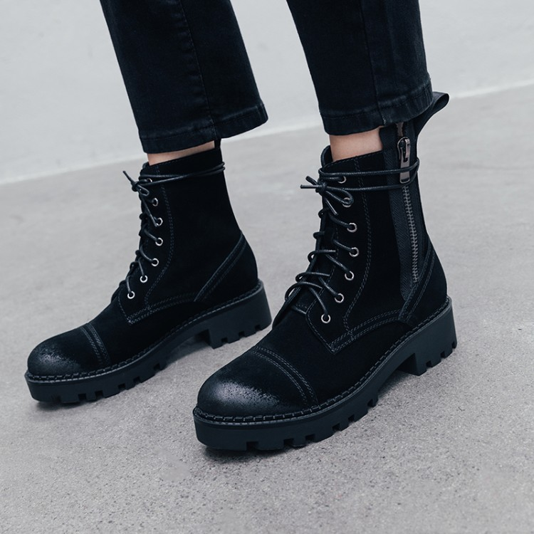 Fashion Women Boots Spring Autumn Motorcycle Ankle Platform Boots Ladies Boots Black Cow Suede Leather Shoes Women BootsFashion Women Boots Spring Autumn Motorcycle Ankle Platform Boots Ladies Boots Black Cow Suede Leather Shoes Women Boots