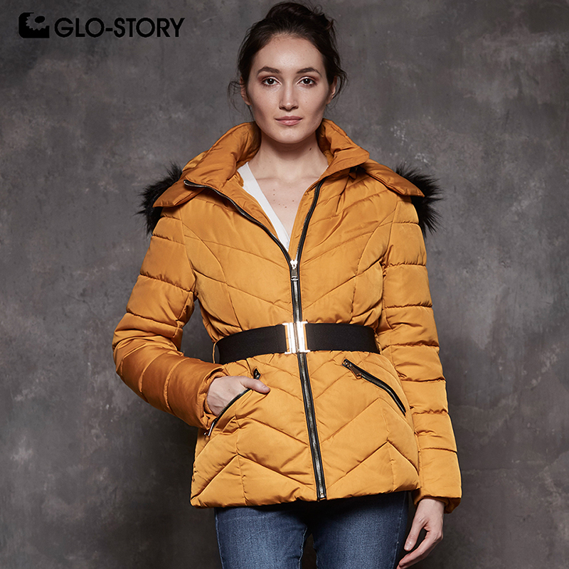 bc675ec1d GLO STORY 2018 New Women Winter Jackets Sashes Fur Hooded Parka ...