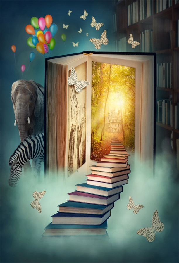 Laeacco Fairytale Magical Book Stairs To Castle Elephant