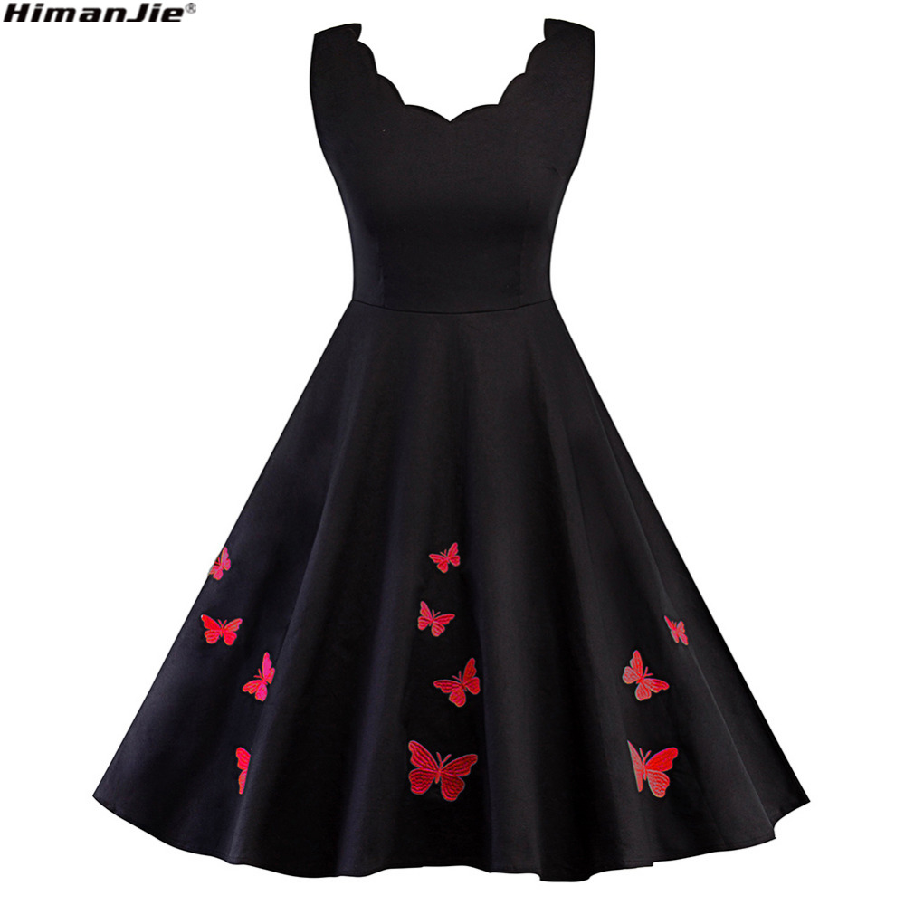 Himanjie Plus Size Vintage Robe Pin Up Black Wave V neck Butterfly Embroidery Dress 1950s Summer Elegant Retro Women swing Dress