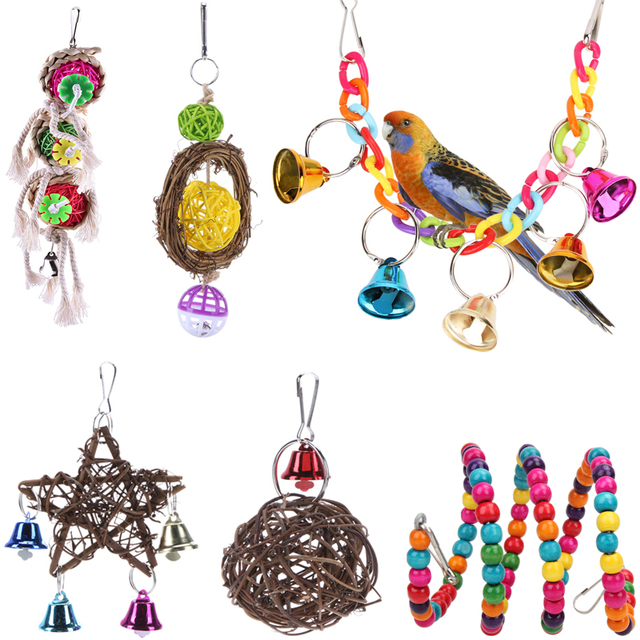 Pet Parrot Toys Wooden Hanging Cage Toys for Parrots Bird Squirrel Cockatiel Funny Swing Toy Pet Bird Supplies