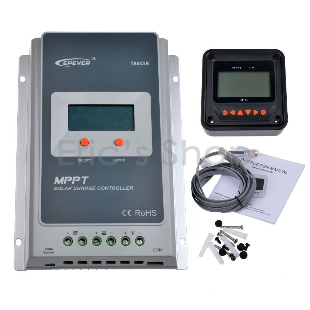 40A MPPT Solar Charge Controller + Remote Meter MT50 EPEVER Battery Regulator Max PV Input 100V 12V/24V DC Auto With LCD Display mppt 40a 4210a solar charge controller 12v 24v automatic conversion lcd display max 100v regulator pc communication mobile