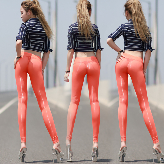 Sexy transparent milk, silk perspectivity tight-fitting ankle length trousers viscose silky sunscreen slim hip slim