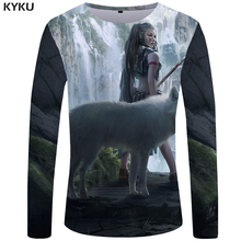KYKU Brand Wolf T shirt Men Long sleeve Mountain Cool War 3d T-shirt Water Tee Funny shirts Graphic Mens Clothing