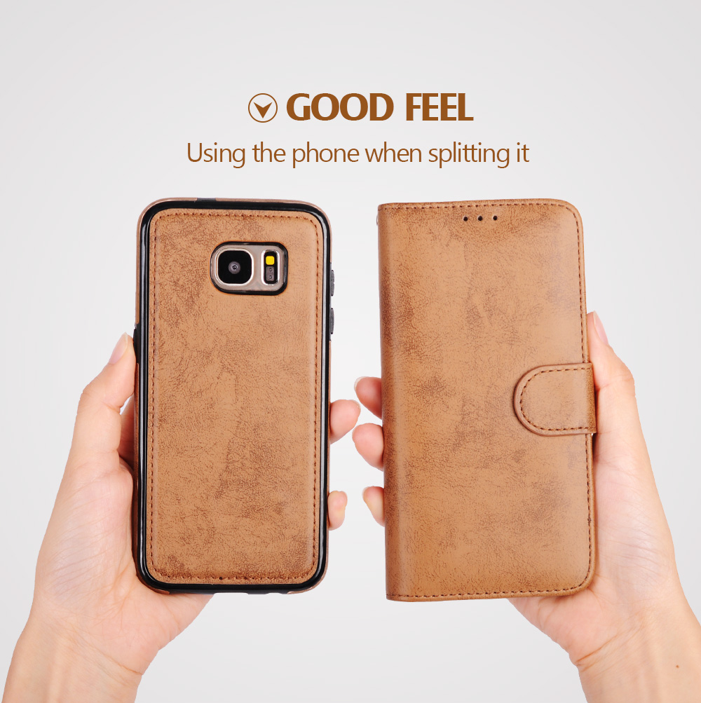 För Samsung Galaxy S8 Väska Flip Wallet 2 i 1 Avtagbar Retro Slim - Reservdelar och tillbehör för mobiltelefoner - Foto 4