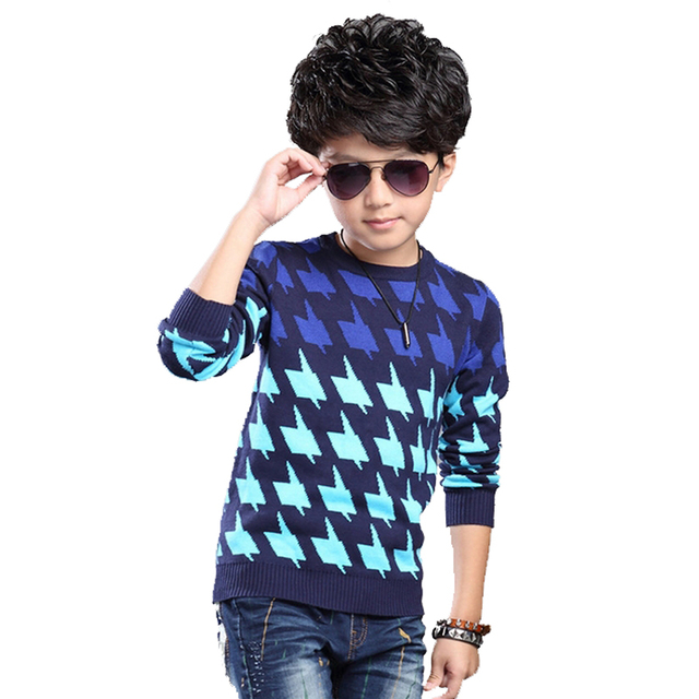 2016 New Spring Boys Sweaters Kids Kinitted Sweaters Korean Casual Mixed Color Sweaters Long Sleeve Thicken Children's Clothing