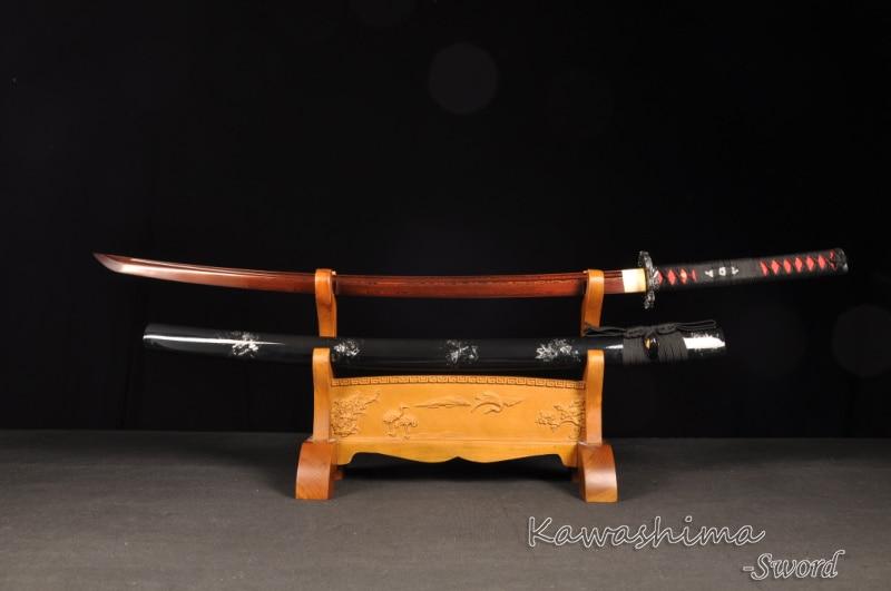 Kırmızı Bıçak Dövme Şam Katlanmış Çelik Gerçek Samuray - Ev Dekoru - Fotoğraf 2
