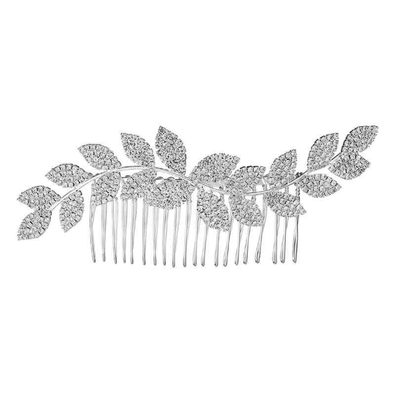 2 шт. расческа для волос ручной работы Волнистый лист со стразами многозубная расческа аксессуары для волос заколки для волос для женщин дамы