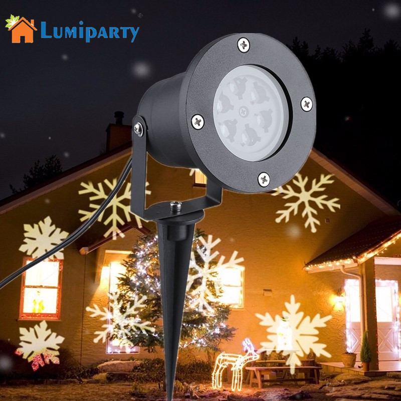 LumiParty Outdoor Snowflake LED Stage Light Moving Snow Laser Projector for Garden Party Landscape Lamp Christmas