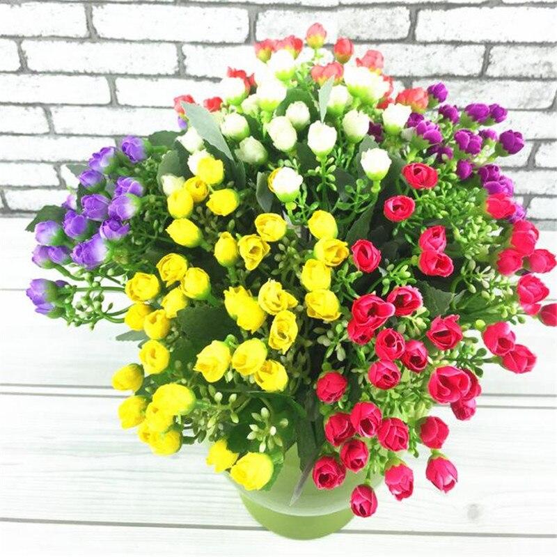 Fake Milan Bunch (6 stems/piece) 27cm/10.63 Length Artificial Flowers Mini Rosebud for Home Xmas Showcase Decorative