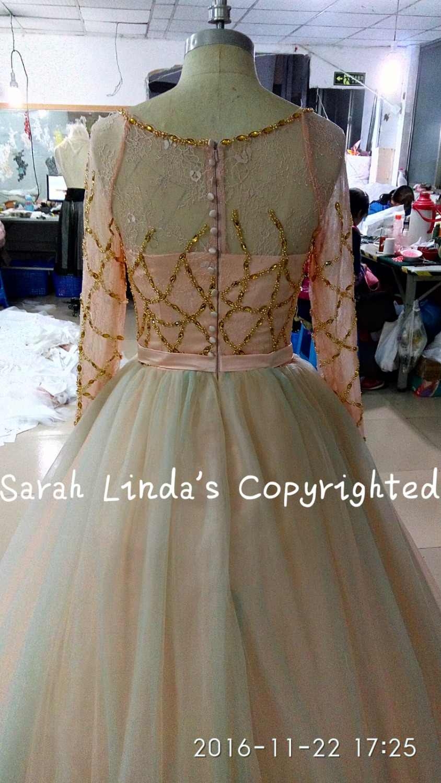 Echt bild ballkleid long sleeve hochzeitskleid reales bild gold blau perlen perlen hochzeit kleider prinzessin puffy braut kleid