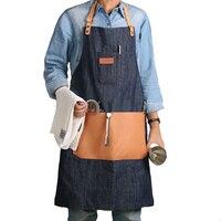 WEEYI Denim Arbeit Schürze mit Großen Echtem Leder Werkzeugtaschen Strap Blau Mann und Frau S bis XXL Kellner Yardman Barista Uniform