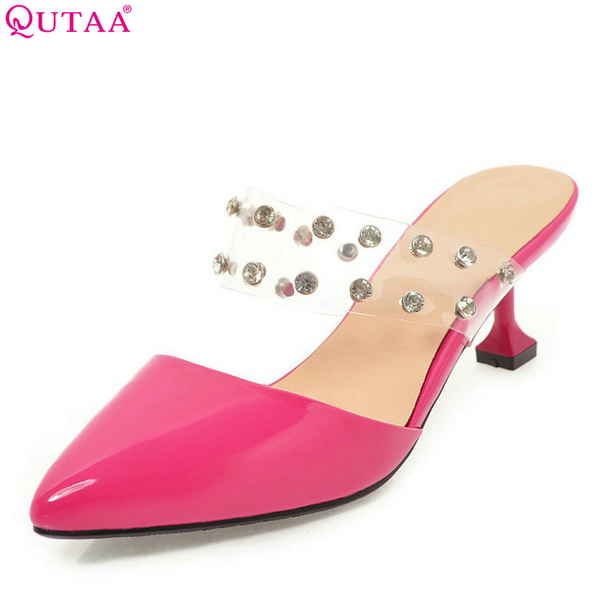 QUTAA 2018 Women Sandals Pointed Toe Fashion Women Shoes Platform Thin High Heel All Match Red Ladies Shoes Size 34-43 qutaa 2017 women over the knee high boots all match pointed toe high quality thin high heel pointed toe women boots size 34 43