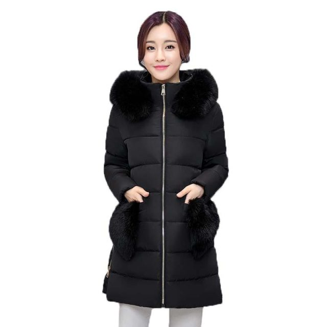 2016 Winter Jacket Women Fur Collar Hooded Down Cotton Coat Long Section Thicken Warm Padded Jacket Fur Pockets Outerwear PW0704