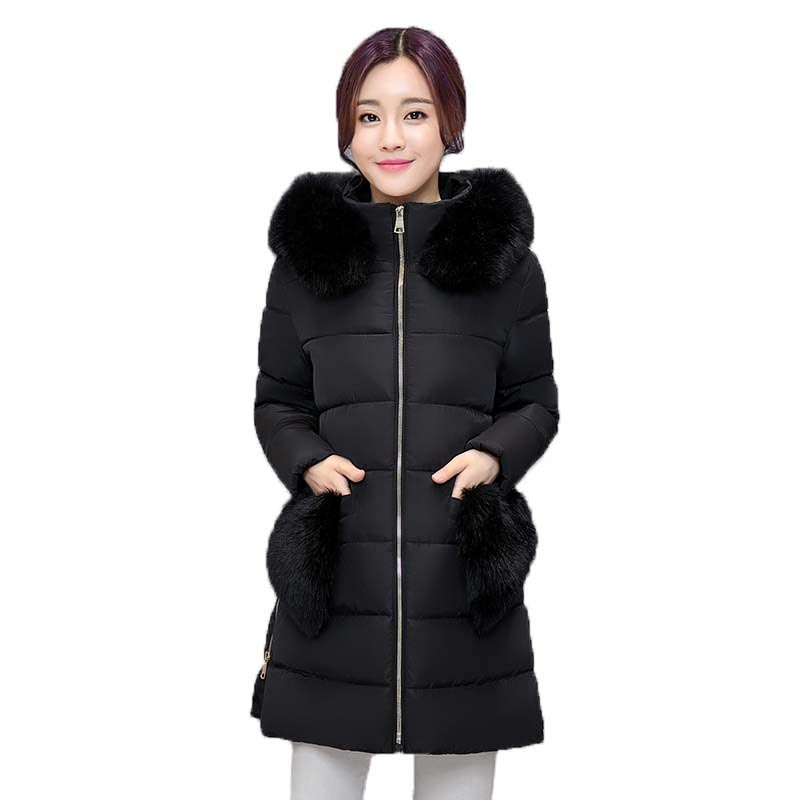 2017 Winter Jacket Women Fur Collar Hooded Cotton Coat Long Section Thicken Warm Padded Jacket Fur Pockets Outerwear PW0704 boys winter jacket cotton padded fur collar hooded long kids outerwear coat thicken warm boy winter coat children clothing