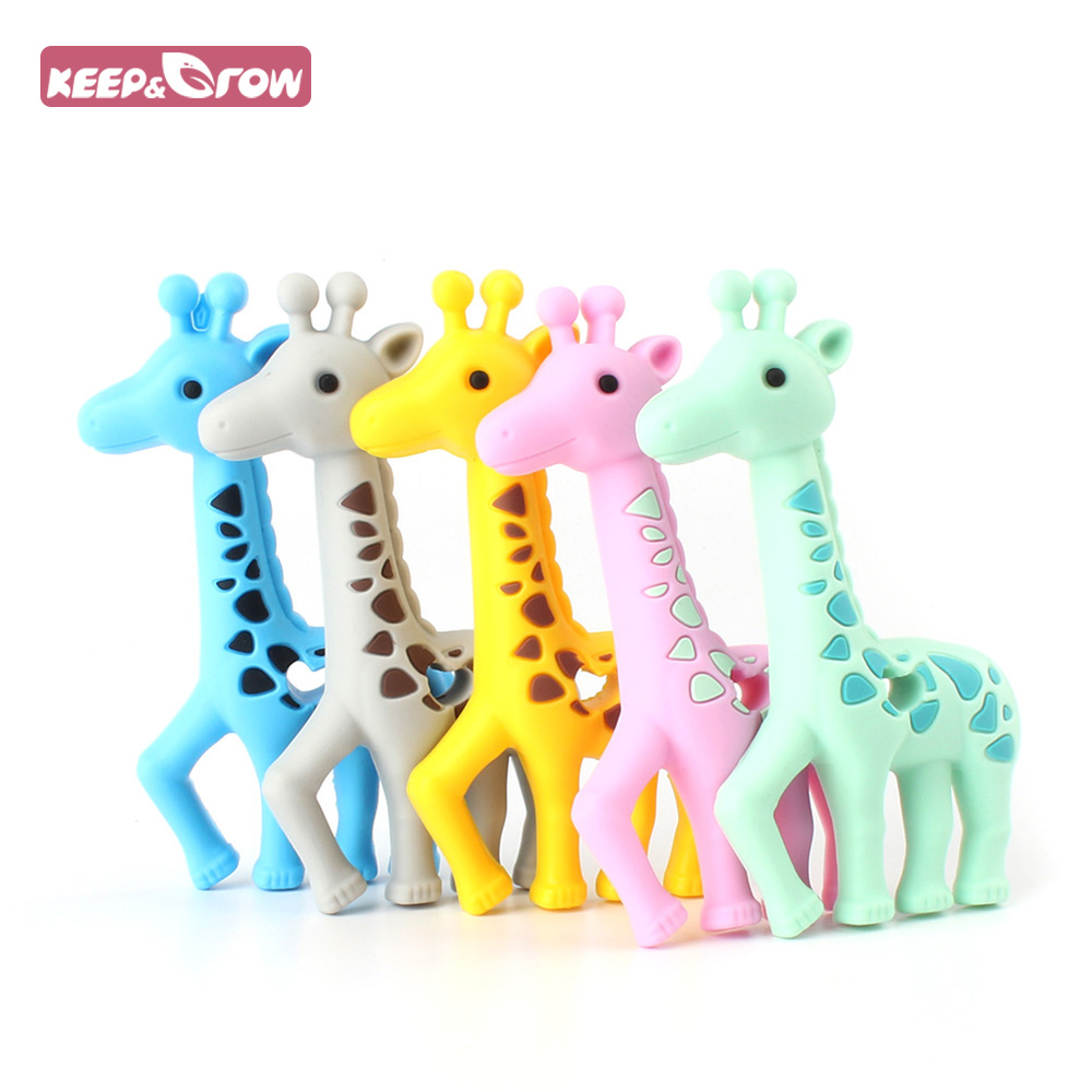 Keep&Grow 1Pc Giraffe Silicone Teether BPA Free Baby Teethers Deer Shaped Baby Teething Toys Food Grade Baby Nursing Mordedor