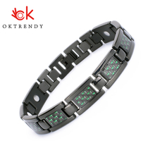 Oktrendy Men Titanium Magnetic Bracelet For Blood Pressure Control Energy Health Care Bracelets Bangle With Green Carbon Fiber