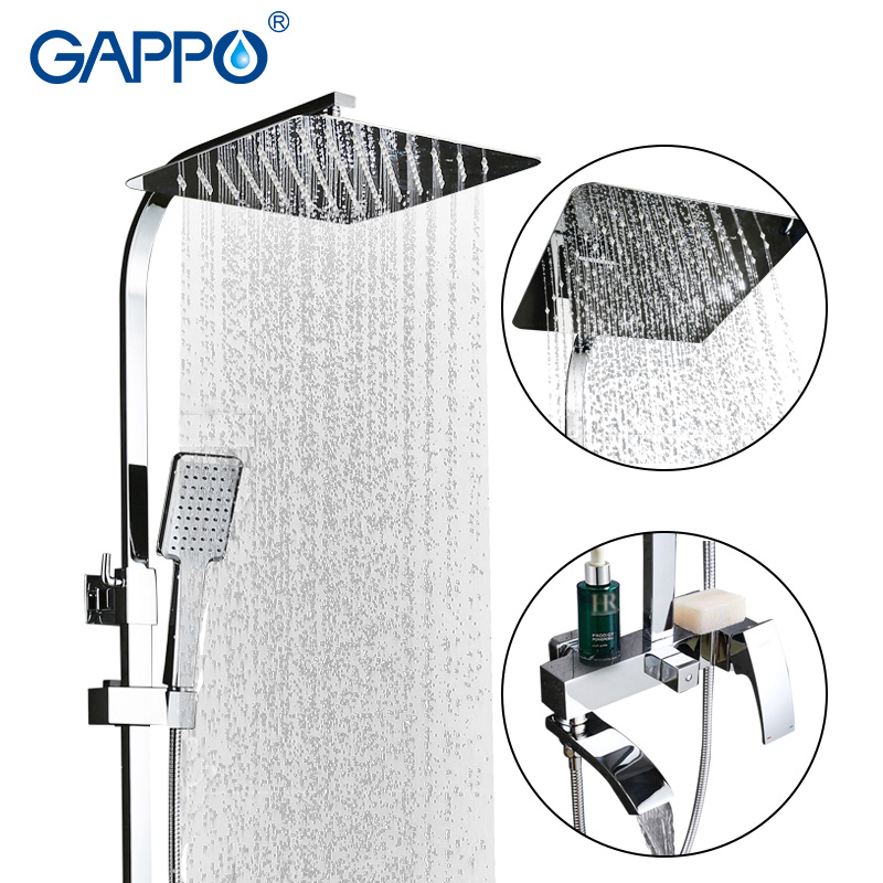 GAPPO bathtub faucet shower mixer tap Chrome bath mixers Rainfall Bath tub taps waterfall Bathroom shower head bath tub faucet wall mount thermostatic shower faucet mixers chrome dual handle bathroom hand held bath shower taps