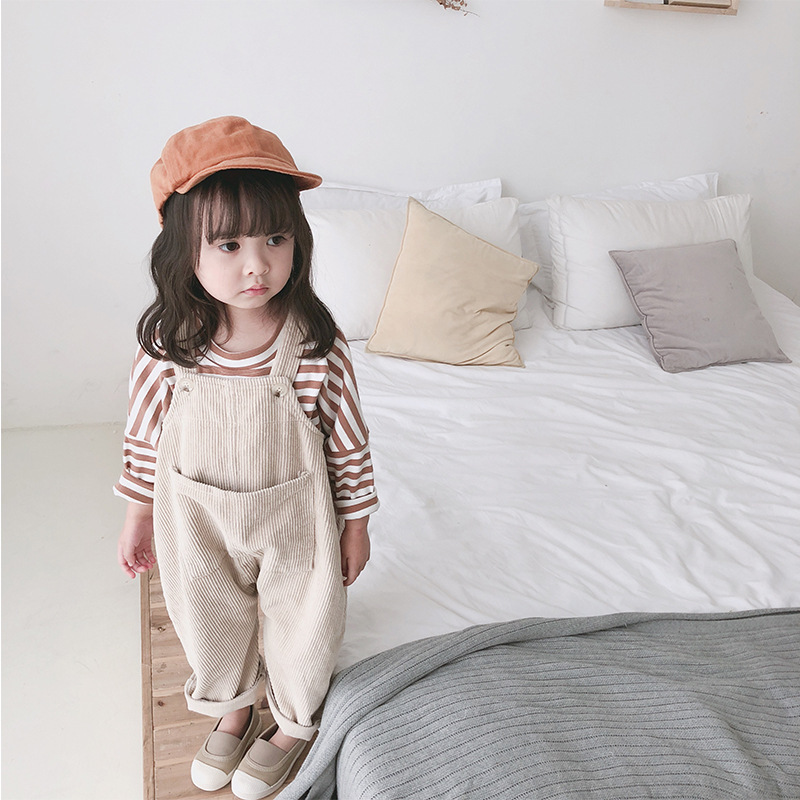 Spring 2019 New Kids Clothing Children Korean Corduroy Loose Leisure Big Pocket Solid Color Pants Girls Pants