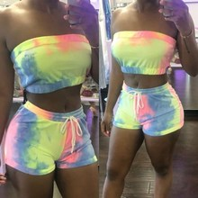 Tie Dye Sexy Two Piece Set Crop Top and Shorts Summer Clothes For Women 2pc Set Trendy Female Outfits цена