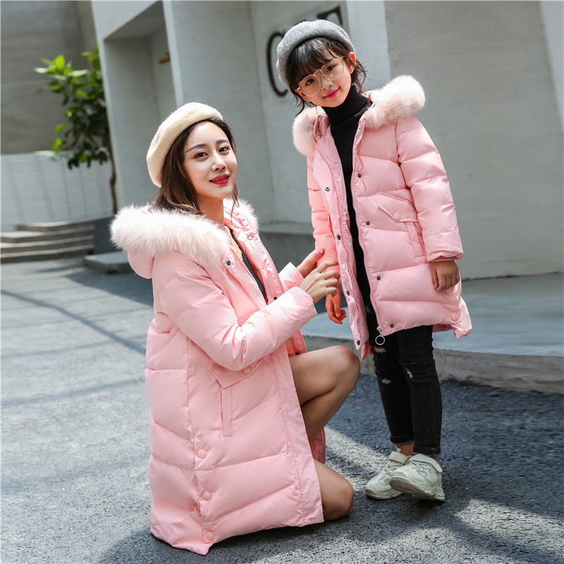 Winter Jacket Girl Coat Pink Cute Hooded Real Fur Collar Size 6 8 10 12 14 Years Mother Child Clothes Thick Long Outerwear girl long korean tide thick warm down jacket winter for size 6 7 8 9 10 11 12 13 14 years child new black blue green outerwear