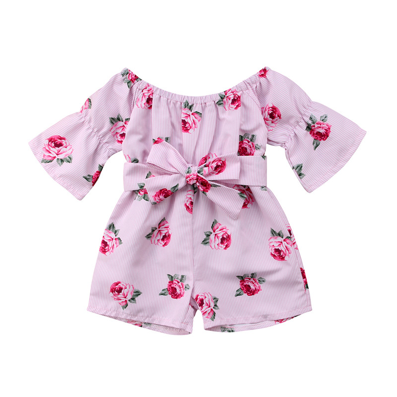 2018 Summer Cute Newborn Baby Girl Floral Romper Long Sleeve Off Shoulder Jumpsuit Outfits Sunsuit Clothes yellow lace up design floral print off the shoulder long sleeves two piece outfits