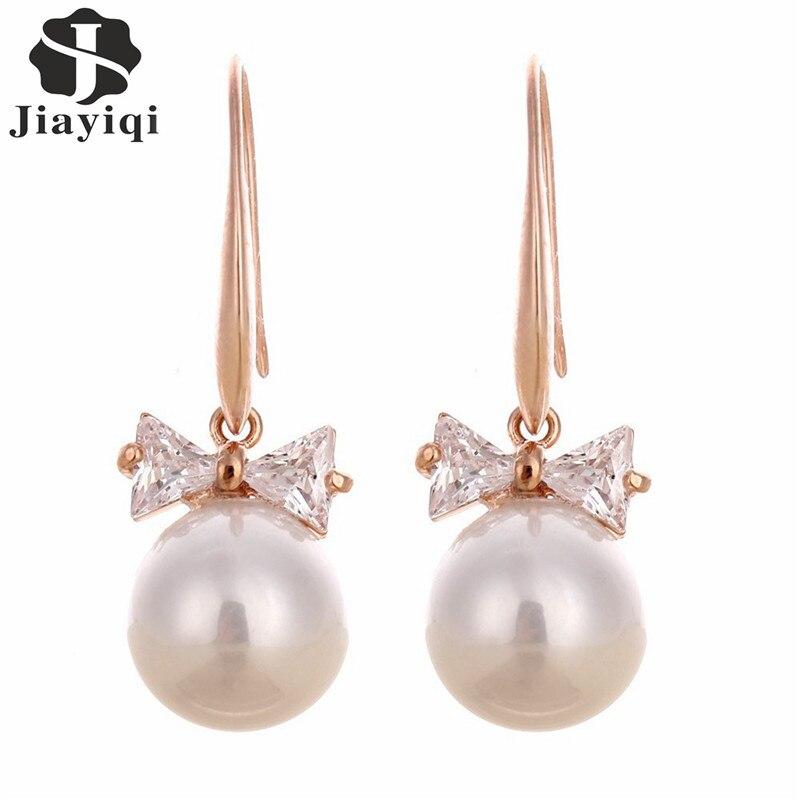2017 New Trendy Dangle Earrings Crystal Big Pearl Drop Earrings Gold color Sweet Long Earrings For Women Wedding Fine Jewelry