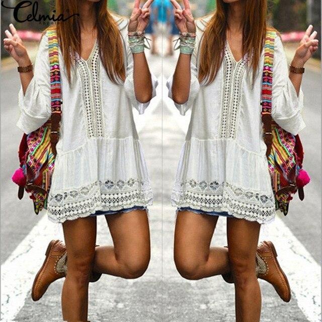 Celmia 2017 Boho Womens Summer Dress Ladies Sexy Lace Crochet Flare Sleeve V Neck Hollow Out Casual Beach Mini Dresses Vestido