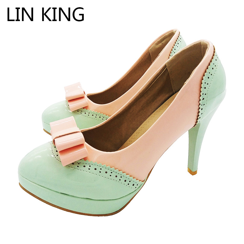 LIN KING Sexy Thin Heel Women Pumps Round Toe Slip On High Heel Shoes Sweet Bowtie Lolita Shoes Mary Janes Party Wedding Shoes lin king casual women platform pumps wedges leather high heel shoes vintage solid slip on gladiator shoes lady round toe shoes