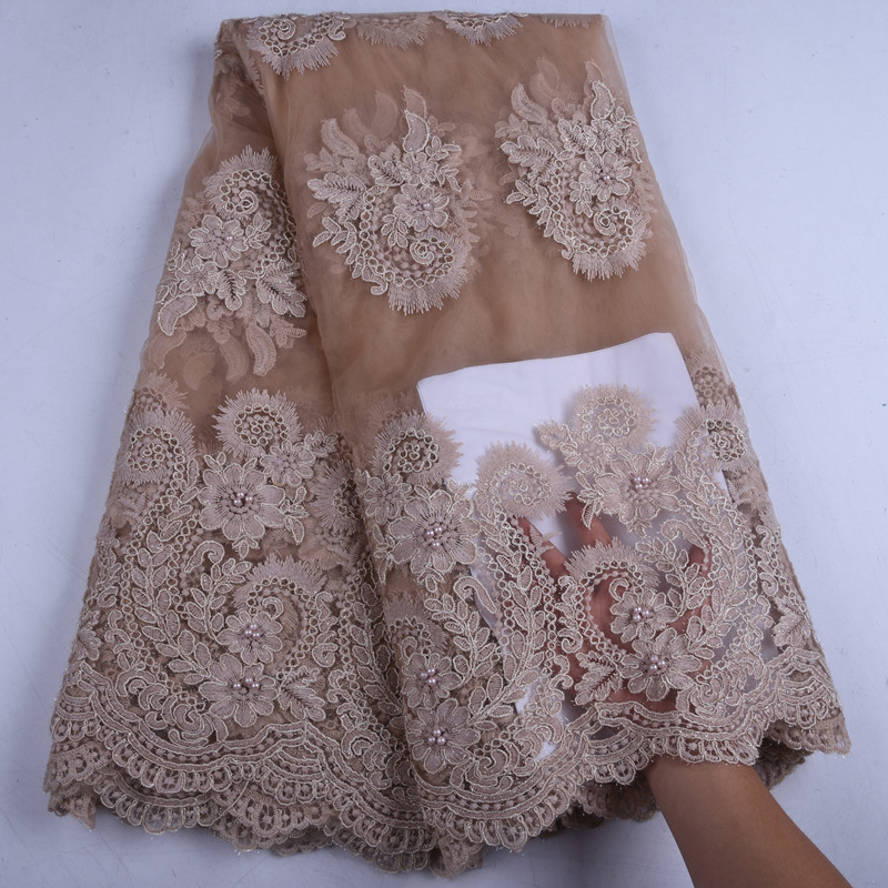 African Dry Lace Fabric French Beautiful Lace Fabric Embroidered Nigerian Lace Fabric With Stones For Women