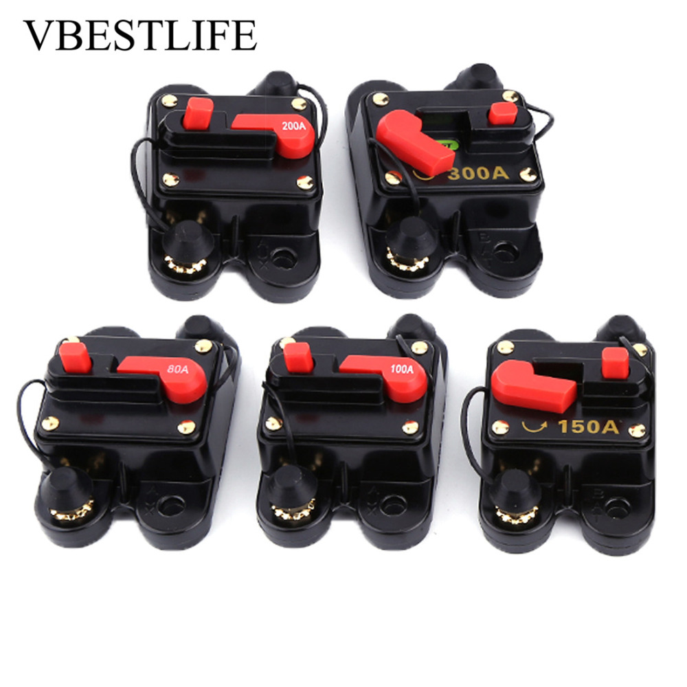 Dc 12v Circuit Breaker Voltage Relay For Car Marine Boat Bike Stereo Audio Reset Fuse 80 300a