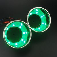 2PCS Stainless Steel Green 8 LED Cup Drink Holder Marine Boat Car Truck RV Well
