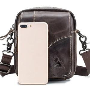 Image 3 - Bolsa de couro genuíno vintage masculina, bolsa de ombro com aba pequena de couro natural